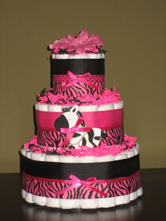 Sassy Hot Pink Zebra Diaper Cake for Baby Shower Centerpice or New Baby Gift. $54.99, via Etsy.