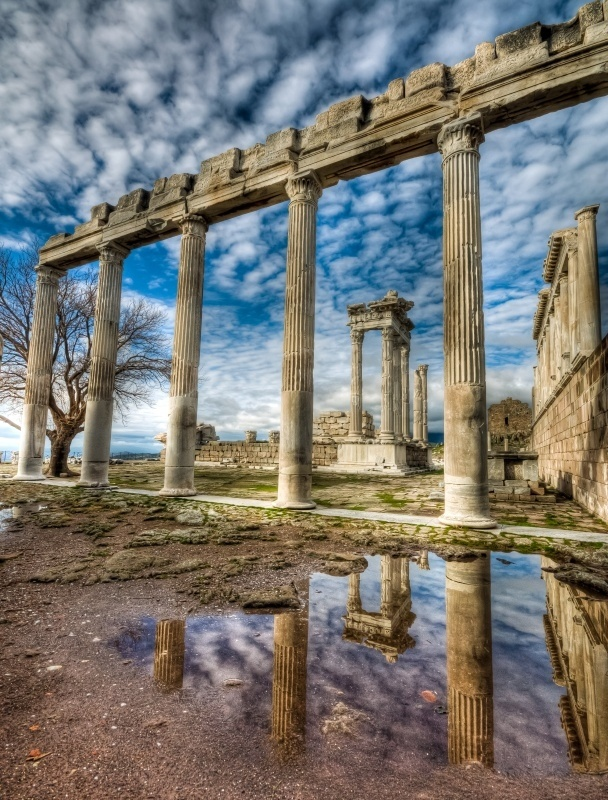 Reconstructed Temple of Trajan at Pergamon, Turkey