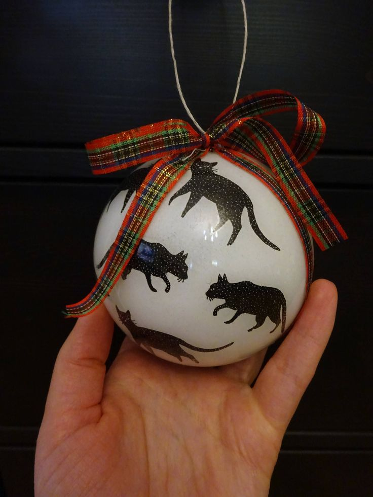 Christmas bauble / Black cat art / Christmas decoration / Cat lovers / Christmas tree decor / Cat lover gift / Decoupage bauble / Scottish by ArtisticallyShop on Etsy