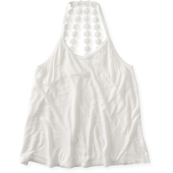 Aeropostale Daisy Chain Strappy-Back Tank ($14) ❤ liked on Polyvore featuring tops, cream, white top, spaghetti-strap top, hippie tops, embroidered tank and white embroidered top