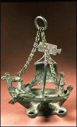 Bronze lamp of ship of St. Peter and Paul