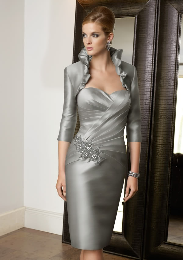Mother Bride Short Dresses Jackets | Short Mother Of Bride Wedding Dress Evening Dress With Free Jacket ...