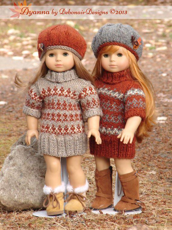 "Knitting Pattern Ayanna fairisle sweater dress only for 18"" American Girl dolls #DebonairDesigns"