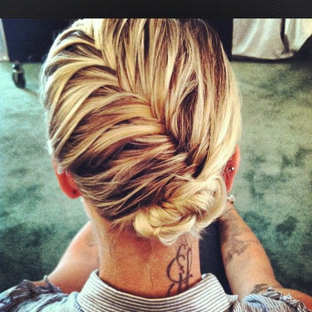 french fishtail with a bun. great for fine hair! (photo: Kristin Ess)...my hair for the wedding? it looks simple and pretty....wonder if the layers will hold