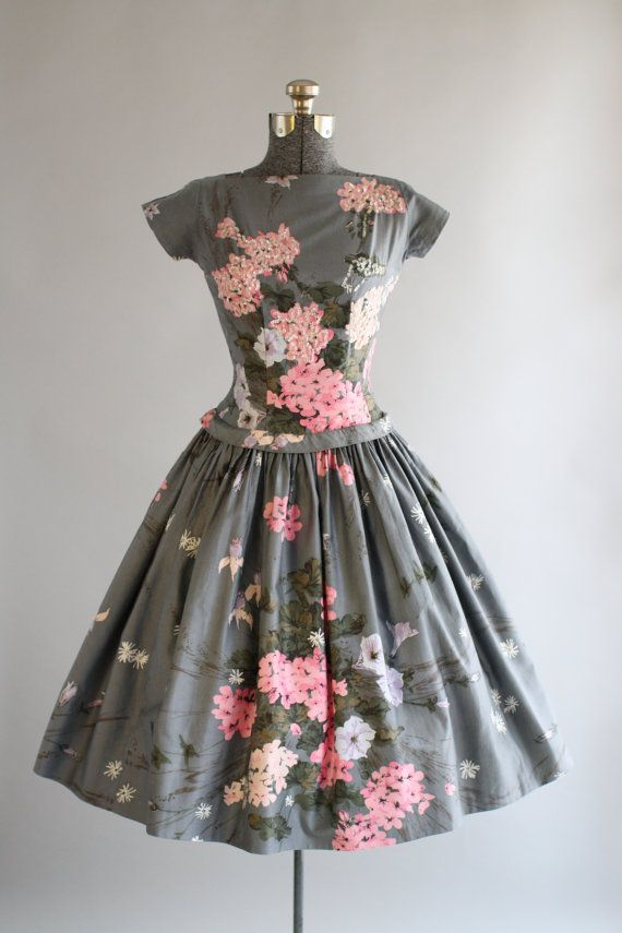Vintage 1950s Cotton Dress / Gray and Pink Floral Drop Waist Dress w/ Sequins