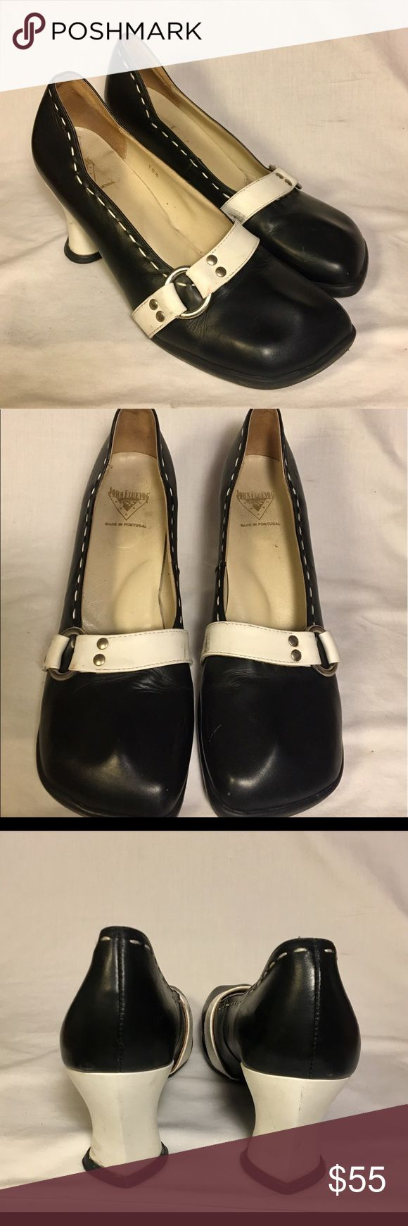 John Fluevog heels 👠 John Fluevog heels white and black. Cute heels with lots of life left in them. Beautiful leather. Made in Portugal 🇵🇹 Soles have scrapes / cute / John Fluevog / John Fluevog Shoes Heels