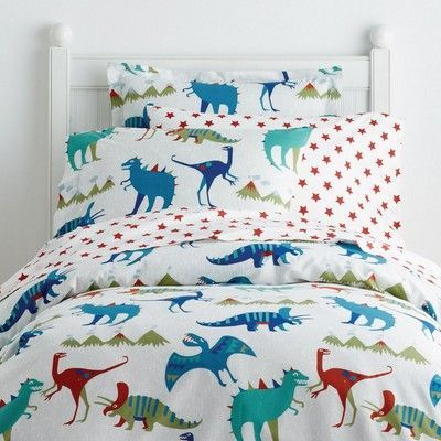 Cozy kids' duvet cover, including raptors, triceratops, apatosaurus, pterodactyls and more. Made from soft, 200-thread count cotton percale.