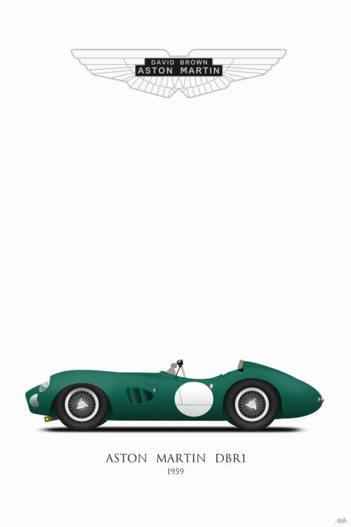 #Aston Martin DBR1/3 car from 1959, #astonmartin #dbr1 #illustration #inkscape