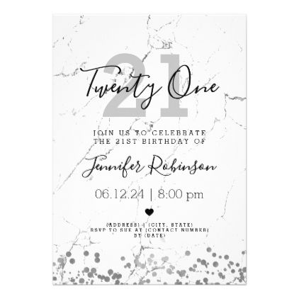 Simple 21st Birthday Party Silver Marble Card