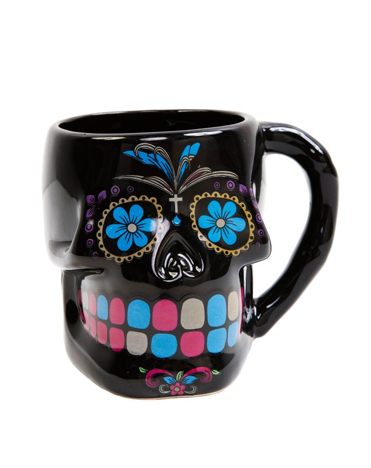 Black Sugar Skull Mug at Spirit Halloween - Celebrate the Day of the Dead when you drink from the Black Sugar Skull Mug. This black mug features colorful sugar skull details. Serve up your next terrifying treat this colorful mug for $7.99