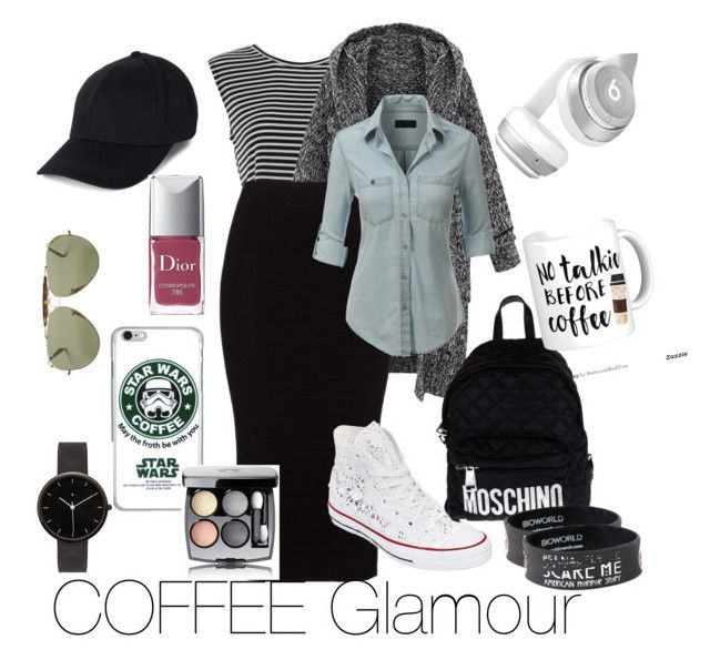 """""""Coffee Glamour☕️"""" by antonella-ienna on Polyvore featuring moda, Mat, LE3NO, Converse, Moschino, Ray-Ban, Beats by Dr. Dre, I Love Ugly, Chanel e Christian Dior"""