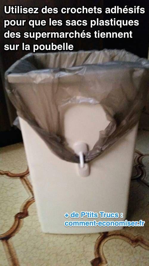 Le souci, c'est que les sacs plastiques ne tiennent pas bien sur la poubelle. Heureusement, il existe un truc pour que ça tienne mieux.  Découvrez l'astuce ici : http://www.comment-economiser.fr/sacs-plastiques-tiennent-sur-votre-poubelle.html?utm_content=buffercc8af&utm_medium=social&utm_source=pinterest.com&utm_campaign=buffer