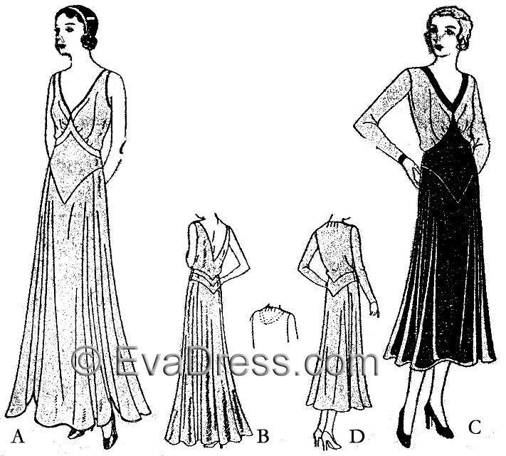 1930 Dress or Evening Gown D30-3521