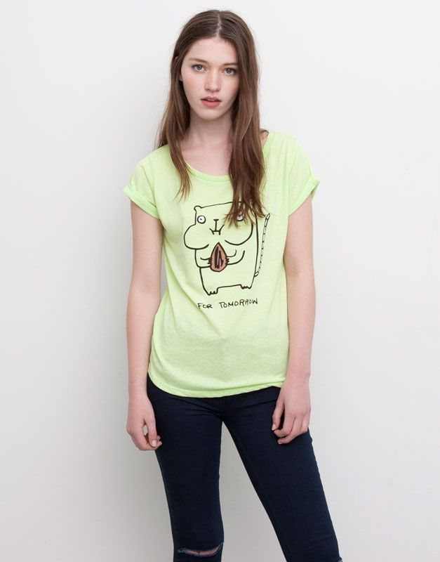 Pull&Bear - femme - t-shirts et tops - t-shirt imprimé hamster - citron vert - 05241398-I2015