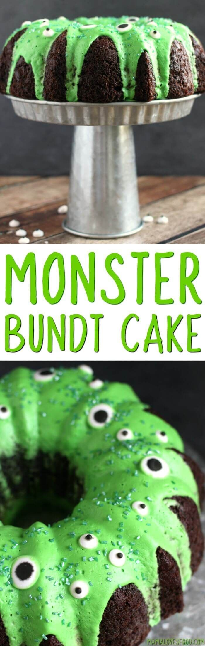 so fun, the kids loved it!  great tips on how to make box cake better too!   Easy Monster Bundt Cake