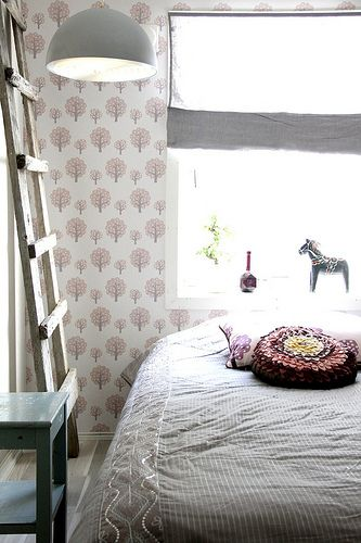 Old ladder, old lamp and Ferm Living wallpaper