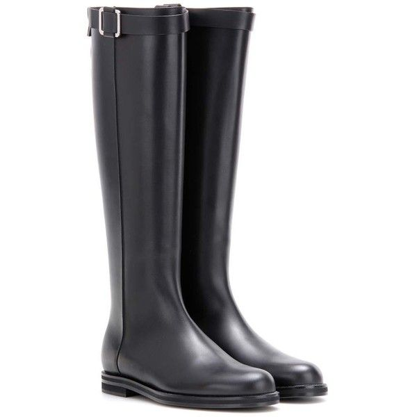 Loro Piana Wilshire Leather Knee-High Boots (€1.795) ❤ liked on Polyvore featuring shoes, boots, black, flat, knee boots, flat leather boots, black knee boots, flat knee boots and knee high boots