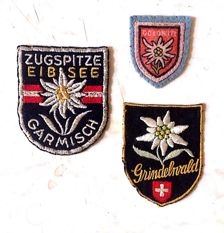 mix embleme, logo – floarea de colt, broderie, amalgam, Garmisch – Alemania, Grindelwald – Elvetia,