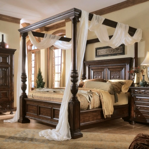 Wood four poster canopy bed #FourPoster #Bed