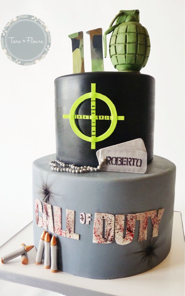 Call of duty cake, all edible deco. Cake cover in fondant.
