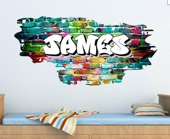 Full Colour Personalised Graffiti Name Brick Wall by GlitterBlast