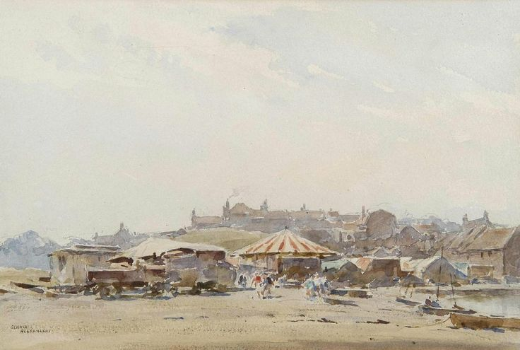 Arthur Gerald Ackermann (1876 — 1960, UK) The Fair at Blakeney watercolour. 24 x 35.5 cm. (9½ x 14 in.)