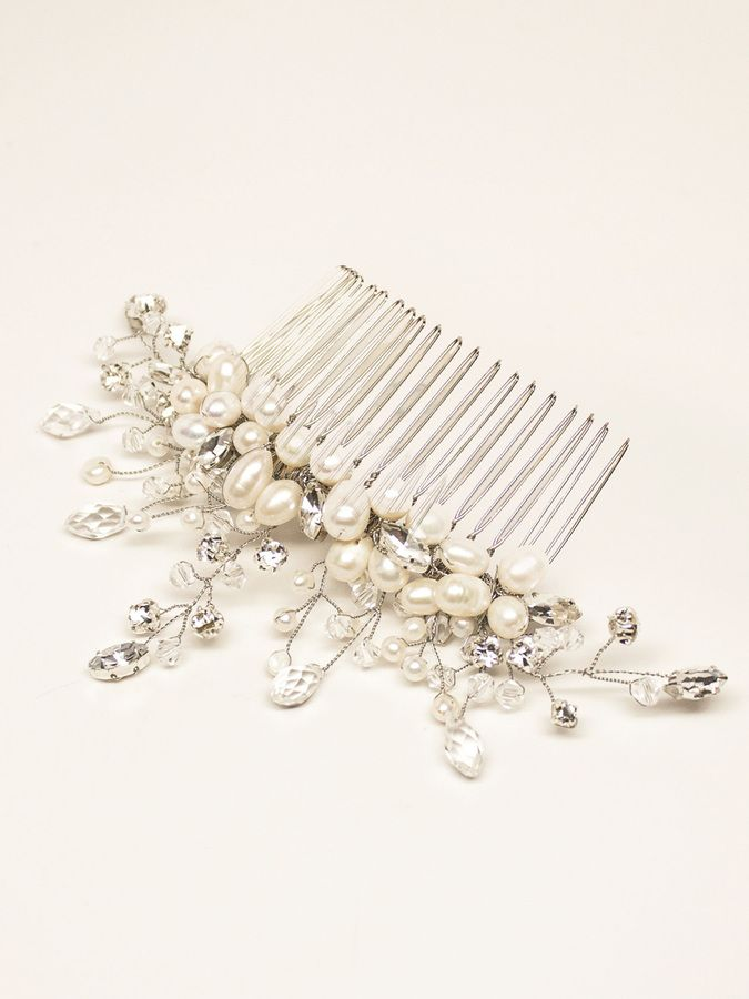 """Delicate Crystal, Pearl and Rhinestone Beaded Bridal Hair Comb - """"Cherise"""""""
