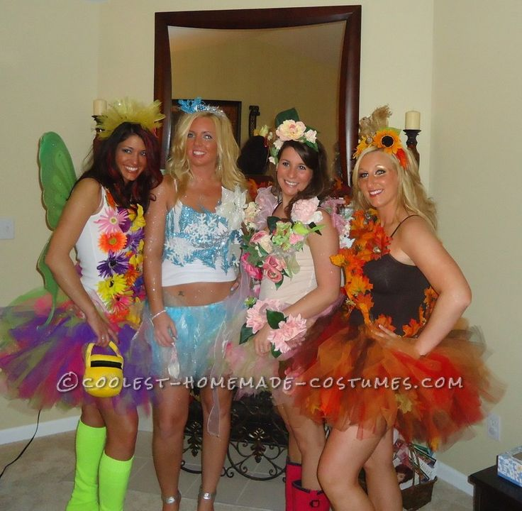 The Four Seasons Girl's Group Costume... This website is the Pinterest of costumes- group, couples, pregnancy, you name it!