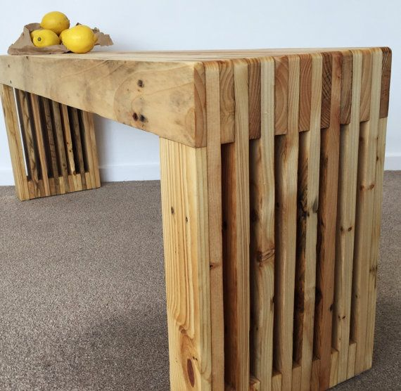 Our modern hand tailored bench is made out of reclaimed pallet wood and we designed it with functionality in mind. This beautiful piece can serve you as a dining bench, hallway seat, coffee table or seat at the foot-of-bed. The nature of the repurposed wood is unique and the blocking and knots add to the character of the final look of this project.  SIZE GUIDE Length: 100 cm Width : 40 cm Height : 45 cm (173/4)  FINISH: Natural Oil Finish.  HARDWARE: 4 x protective felt pads included.  V...