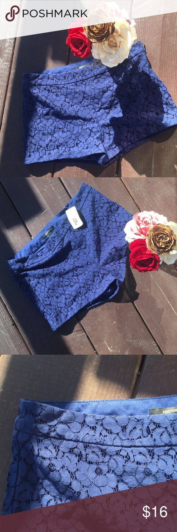 NWT NAVY BLUE LACE SHORTS Navy blue lace Forever 21 shorts , flower lace design. NWT 🙋🏻‍♀️ - all reasonable offers welcome! 🛍 - bundle offers! Forever 21 Shorts