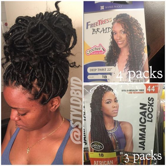 So the hair above is what I recommend. 4packs freetress deep twist, 3 packs Jamaican locks.  I used 3 packs of the freetress hair, and 3 of a different brand of Marley hair because my beauty supply did not hair the Jamaican locks in my color.  I used less hair but my sections are bigger.  This style will be $150 for the remainder of July. Be prepared to sit 8hrs. It may be actually 6 or 7hrs but it depends on the head. #healthy_hair_journey #protectivestyles #goddesslocs #houstonbraids