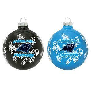 Nfl Carolina Panthers Glass Ornament Set Christmas