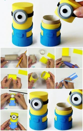 How to Make Minions Box from Cardboard Tube