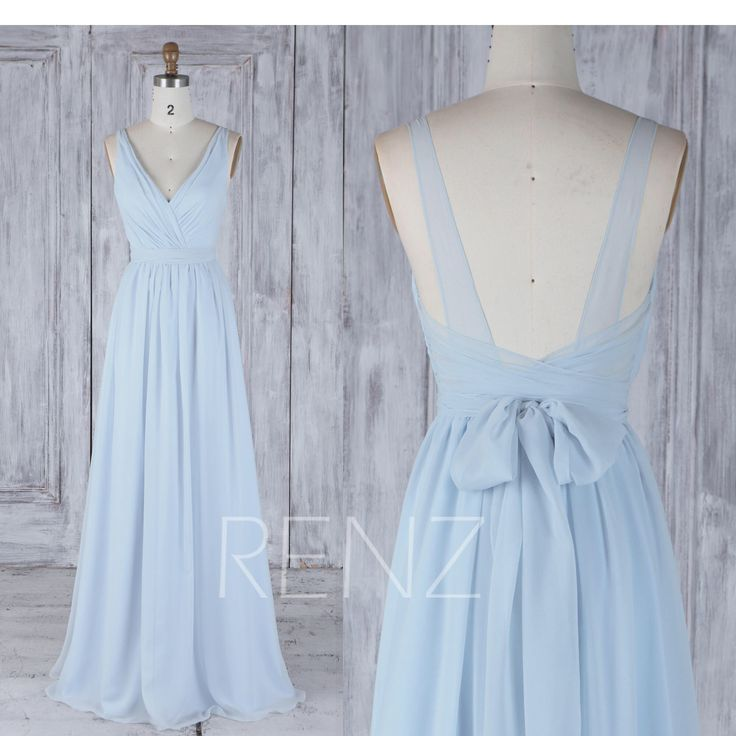 Bridesmaid Dress Light Blue Chiffon Wedding Dress With Sash,Double Straps Open Back Maxi Dress,Ruched V Neck Prom Dress Full Length(H506) by RenzRags on Etsy https://www.etsy.com/listing/521609426/bridesmaid-dress-light-blue-chiffon