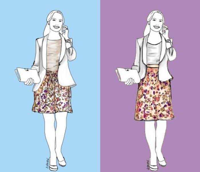 Ein Vorher-Nachher-Vergleich zeigt, wie Sie mit kleinen Outfit-Änderungen Ihre Silhouette und Proportionen neu definieren und deutlich schlanker wirken können.