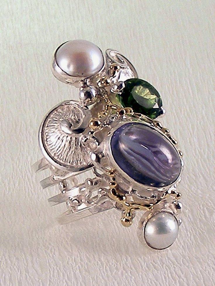 Gregory Pyra Piro #Bijoux d'Auteur, Bijoux Fait Main, Bijoux en #Paris, #Argent Massif et Or #Bague Spirale 7053