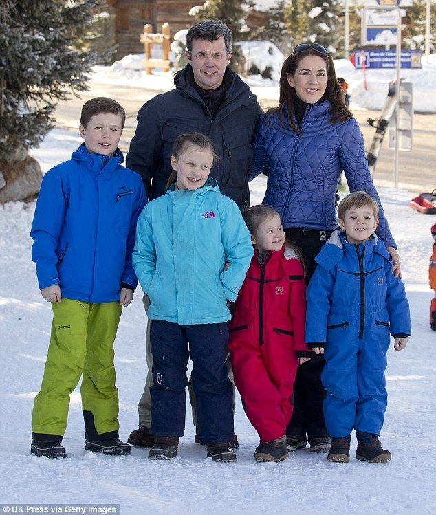In awe: Princess Mary's visit was part of an official three-day humanitarian trip to the country. Pictured with Crown Prince Frederik of Denmark, Prince Christian, Princess Isabella, Princess Josephine and Prince Vincent of Denmark in Verbier, Switzerland