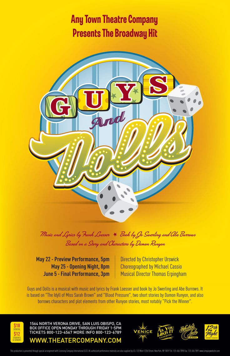 Subplot Studio customizable poster design— Guys and Dolls