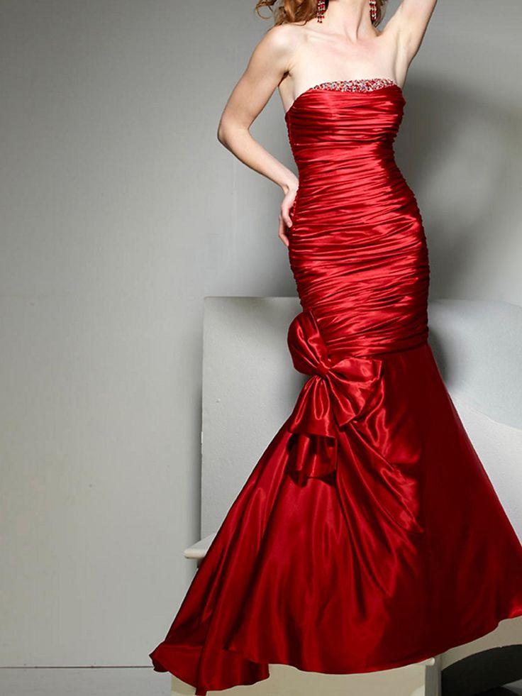 Flirtatious Strapless Mermaid Red Silky Satin Bow Tie Formal Dresses