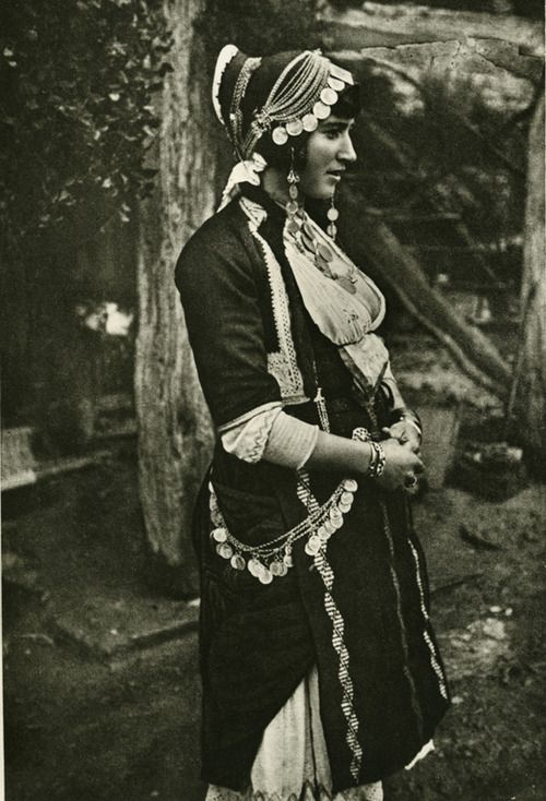 Photo of a married woman wearing the costume of Gidas, Imathia, Macedonia  Early 20th century  ©Peloponnesian Folklore Foundation, Nafplion, Greece