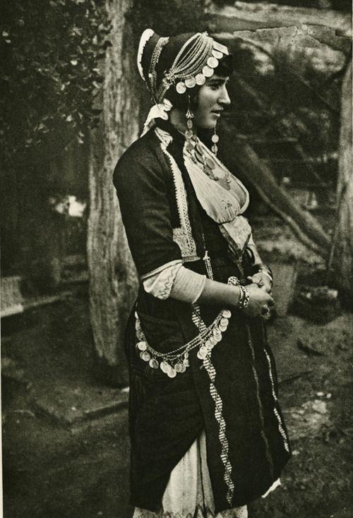 Photo of a married woman wearing the costume of Gidas, Imathia, Macedonia  Early 20th century  ©Peloponnesian Folklore Foundation, Nafplion, Greece