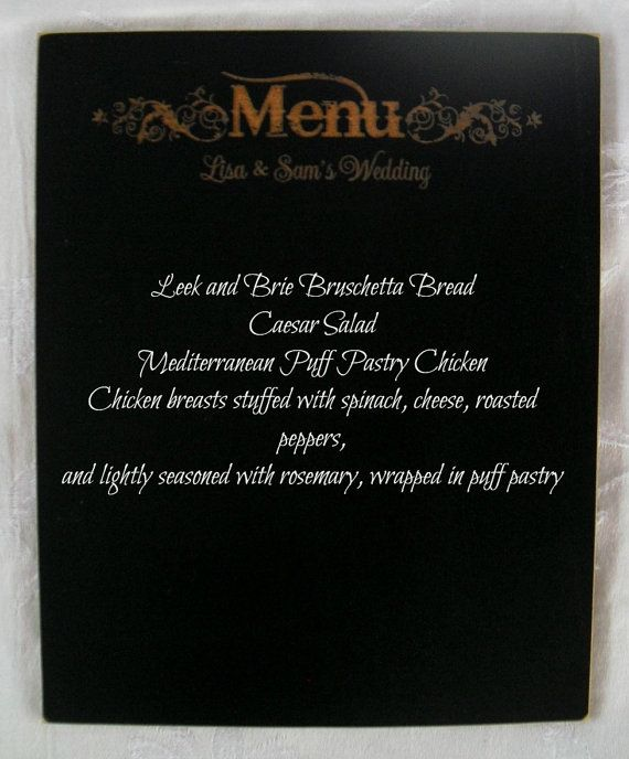 Personalized Western Wedding Menu Chalkboard - Item 1500    NOTE: Frame is NOT included.    Our fabulous new line of frameless designer chalkboards are constructed of sturdy, quality materials and the chalkboard surface is fabulous. Chalk or Chalk Marker write beautifully on the surface and can EASILY be wiped off and cleaned to look brand new! Intended for years of use and enjoyment!    The chalkboard surface measures 8x10. This is a frameless chalkboard that fits in most 8x10 picture…