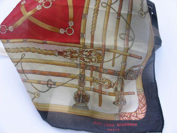 Stunning Silk Scarf by Jean-Lois Scherrer of Paris, pure quality neckerchief or gentlemen's pocket scarf. Comes gift wrapped, from France. @PumpjackPiddlewick on Etsy #jeanloisscherrer #Frenchdesigner #originalgift