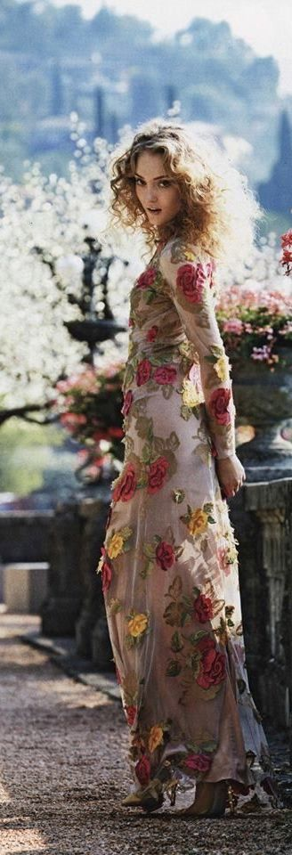 Women's fashion   Floral embroidered maxi dress