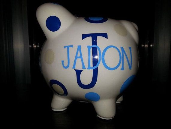 Hey, I found this really awesome Etsy listing at https://www.etsy.com/listing/187490676/personalized-miniature-piggy-bank-wvinyl