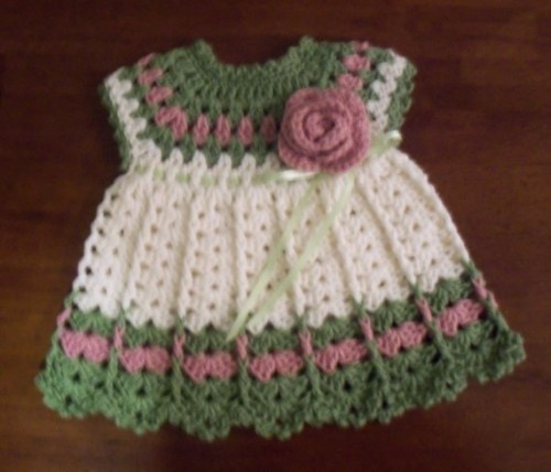 0-3 month Crocheted Rose Dress Pattern
