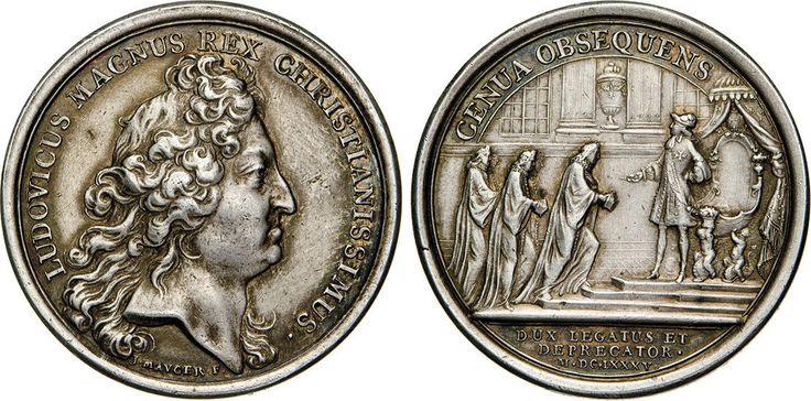 "NumisBids: Numismatica Varesi s.a.s. Auction 65, Lot 400 : GENOVA - LUIGI XIV (1643-1715) Medaglia 1685 ""sottomissione della..."