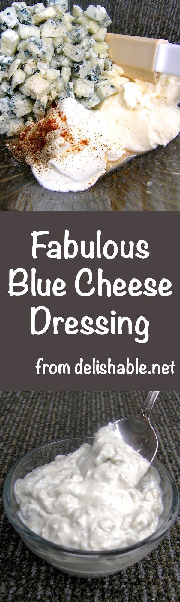 Fabulous Blue Cheese Dressing - exactly the way I like it, with lot's of tangy flavor, chunks of blue cheese, and only 98 calories. You'll love it! | delishable.net