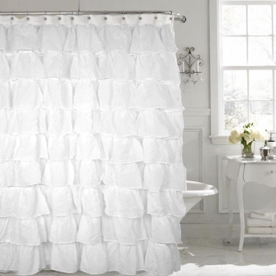 Gypsy White Shabby Chic Ruffled Fabric Shower Curtain