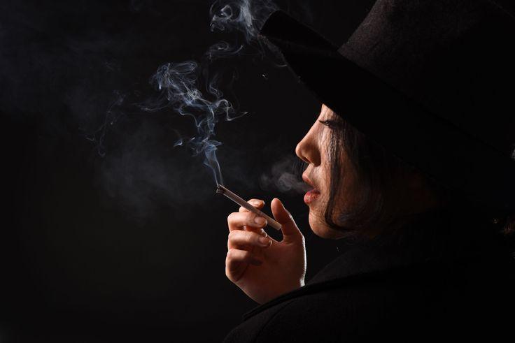 Asian / Korean Model  November 2016 Shooting Portrait Studio Female Smoke Cigarette Profile